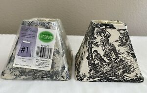 2 WAVERLY TOILE COUNTRY LIFE BLACK / IVORY SQUARE CHANDELIER LAMP SHADES