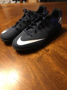 New Nike Bomba Youth Indoor Soccer Shoes Size 5.5 Blue Black White FAST SHIP