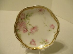 """BUTTER PAT - HAVILAND - LIMOGES - PINK/WHITE FLORAL-DOUBLE GOLD TRIM - 3"""" by 1/2"""