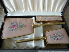Vintage Ladies Brush & Mirror Dressing Table Set Cross Stitch Embroidered in Box
