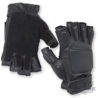 BLACK LEATHER PADDED TACTICAL FINGERLESS  MILITARY GLOVES KNUCKLE ARMY SPEC OPS