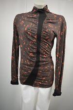 SKUNKFUNK Shirt Tunika Gr.S  Braun rot Stretch Raffung TOP *301