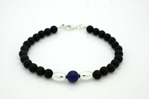 Mens Ladies Bead Bracelet Frosted Onyx and Lapis Lazuli 925 Sterling Silver Oval