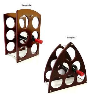 Wooden Wine Rack Stand 6 Bottle Organiser Holder Shelf Stand for Home Bar