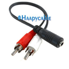 """New Mini 3.5mm 1/8"""" Female to 2 RCA Male Y Jack Audio Stereo Plug Adapter Cable"""