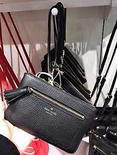 NWT Kate Spade Tinie Chester Street Pebbled Leather Wristlet WLRU2657 - Black