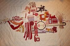 Large American Icons Handmade Appliqued Panel Wall Hanging Quilt
