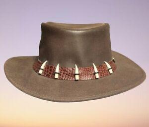 Australian Genuine Kangaroo Leather Handmade Crocodile Dundee Hat XXL RARE
