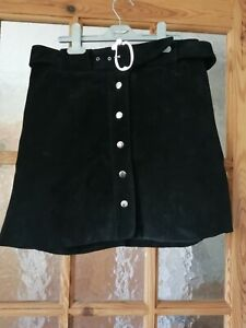 """ZARA Black Real Suede Leather Belted Skirt Size:M - Waist: 28"""""""