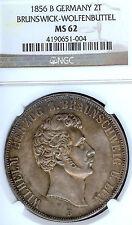 German States Brunswick Wolfenbuttel 1856 B Two Taler Coin Thaler NGC MS 62 F.ST