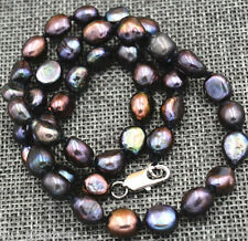 """New 7-8MM black Akoya Cultured Pearl Baroque Necklace 18"""" AAA+"""