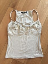NEW JANE NORMAN BEIGE GOLD CROP TOP VEST CAMI SPARKLY SIZE 8 EVENING PARTY