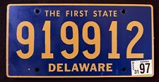 "DELAWARE "" THE FIRST STATE - 919912 "" 1997 DE Vintage Classic License Plate"