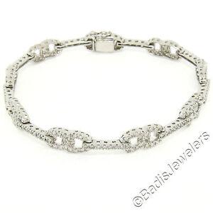 "14K White Gold 2.50ctw Round Brilliant Diamond 7"" Infinity Link Tennis Bracelet"