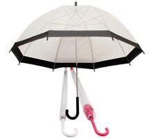 "23"" Clear Dome Umbrella White/Pink/Black Ladies/Mens Transparent Clear Umbrella"