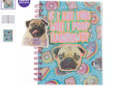 Nwt Claire's Girl's Doug The Pug Sweet Treats Notebook Turquoise