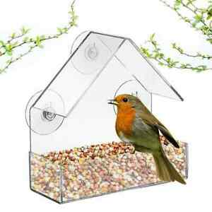 Clear Glass Window Birds Hanging Feeder House Table Seed Peanut Suction Cup
