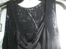 AVON LAVISH LONG GOWN WITH LACE**1 X*100% NYLON*BLACK*NEW SEALED*1994**OLD STOCK