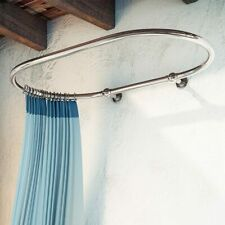 Oval Bathroom Wall Mounted Shower Curtain Rail 1150 x 640 MM