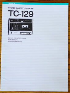 Sony TC-129 Cassette-Corder Instruction Manual - 3-Languages 24-Pages - PERFECT