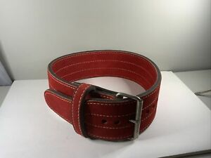 """Weight Lifting Belt Red Suede 4""""used"""