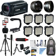 Canon VIXIA HF R600 HD Camcorder Video Camera + 6 Lamps Lighting + Accessories