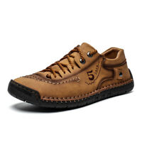 Mens Casual Loafers Leather Slip On Breathable Moccasins Lazy Driving Soft Shoes