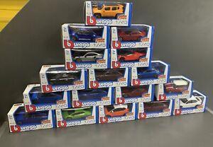 Job lot of 17 Burago Diecast Metal Cars 1:43 Models Boxed Street Fire