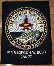 """George H W Bush CVN-77 USS Blanket 100% Virgin Acrylic EUC 69-5/8""""X52-3/4"""""""