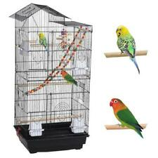 Roof Top Large Parrot Cage Lovebird Parrotlets Pet Bird Cage w/Toys Black