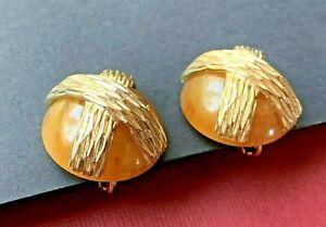 Vintage Signed NAPIER AMBER ORANGE LUCITE CRISS SWIRL CROSS EARRINGS Gold Tone