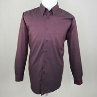 Pronto Uomo Men's Non Iron Purple Iridescent Button Down Long Sleeve Large L