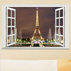 Removable 3D Window Paris Eiffel Tower Art Decal Wall Sticker DIY PVC Home Decor