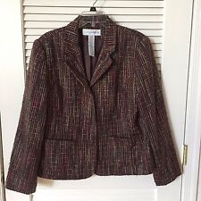 Sag Harbor Snap Front Textured Slub Knit Brown Blazer/Jacket, Size 16