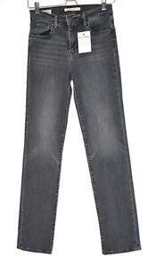 Womens Levis HIGH RISE STRAIGHT 724 Black Grey PREMIUM Stretch Jeans 8 W26 L32