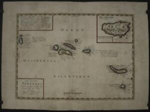 AZORES ISLANDS PORTUGAL 1660 DU VAL & MARIETTE ANTIQUE COPPER ENGRAVED MAP