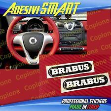 2 Adesivi Resinato Sticker 3D BRABUS Smart Nero & Bianco Volante