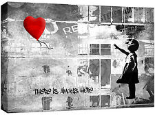 Extra Large Banksy Canvas Red Balloon Grey Picture Wall Art 113 x80 cm 3cm frame