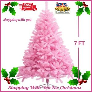 7 Foot Artificial Christmas Tree Pink Xmas Tree with 1600 Tips High End Quality