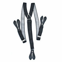 25mm Mens Braces Wide Suspenders DOT Elastic Black Trousers Jeans
