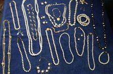 HUGE !! Lot of Vintage Faux Pearl Jewelry, Necklaces, Earrings, Bracelets