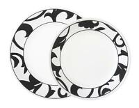 Corelle NOIR Wide Rim CHOOSE: DINNER or LUNCH Plate Magnified BLACK White SCROLL