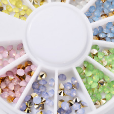 Colorful 3D Rhinestone Acrylic Studs Nail Art Tips Manicure Decoration Wheel DIY
