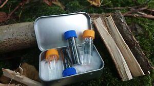 Fire lighting potassium survival kit tin 5ml vials