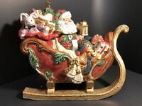 Fitz and Floyd Father Christmas Large Sleigh Centerpiece Santa Toys Cookie Jar