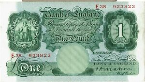 B212 MAHON 1928 £1 BANKNOTE E38 923823 IN aAU CONDITION