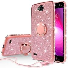 LG X Charge Diamond Glitter Ring TPU Phone Case With Neck Strap Bling Cover