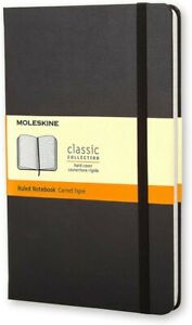 Moleskine Notebook Classic Black Large Ruled Hard Cover 5x8.25