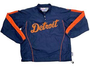 Detroit Tigers Majestic Water Repellent Nylon Windbreaker Jacket Men's Medium M