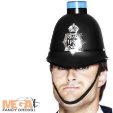 Police Helmet with Flashing Siren Light Adults Fancy Dress Cops Mens Costume Hat